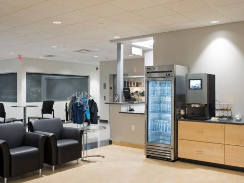 Mercedes Benz of Springfield interior water station waiting area