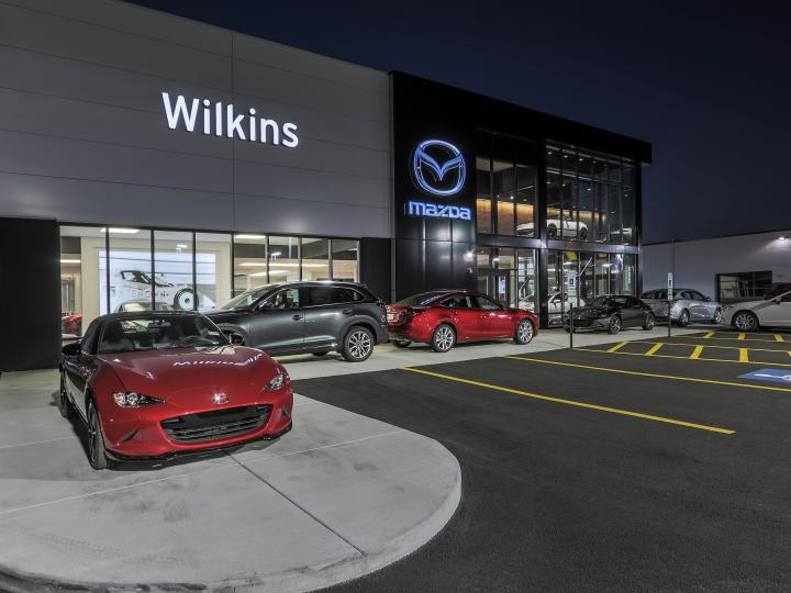 Wilkins Mazda Exterior Night Left Side