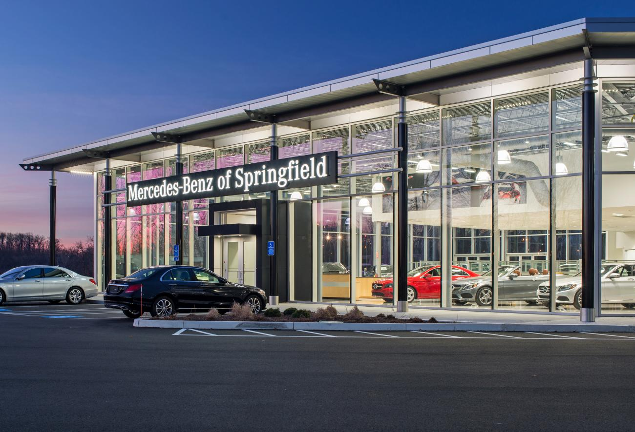 Mercedes Benz of Springfield Exterior right side evening