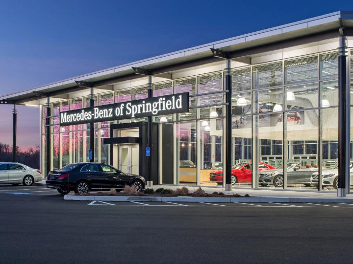 Mercedes Benz of Springfield exterior evening right side